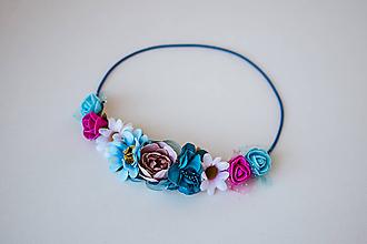 Ozdoby do vlasov - Modrá elastická čelenka s kvetinami - 10611387_