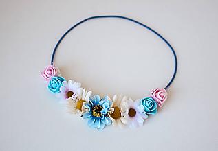 Ozdoby do vlasov - Modrá elastická čelenka s kvetinami - 10611403_