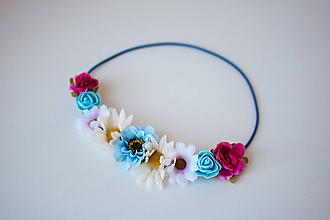 Ozdoby do vlasov - Farebná elastická čelenka s kvetinami - 10611423_
