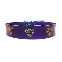 Pre zvieratká - Fialový obojok so žltozelenými psíkmi - 10611284_