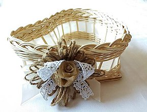 Košíky - Srdiečko menšie (Košíček so špagátovou kvetinou) - 10611742_