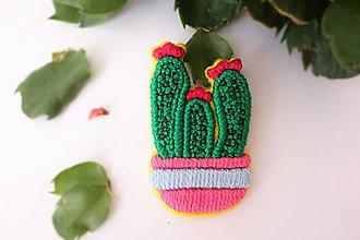 """Odznaky/Brošne - ručne vyšívaná brošňa kaktus """"TRICHOCEREUS"""" - 10612708_"""