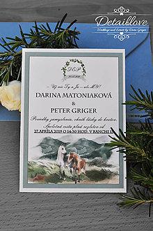 Papiernictvo - Svadobné oznámenie RUSTIC HORSES - 10613329_