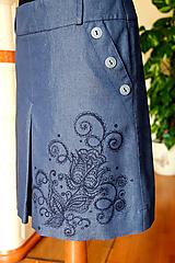 Sukne - Maľba na riflovú sukňu... - 10612151_