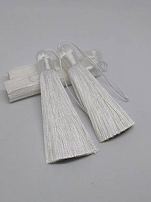 Polotovary - Hodvábne strapce s veľkým očkom - pár (Biela) - 10612782_