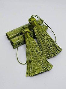 Polotovary - Hodvábne strapce s veľkým očkom - pár (Zelená oliva) - 10612783_