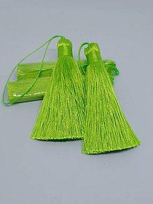 Polotovary - Hodvábne strapce s veľkým očkom - pár (Svieža zelená) - 10612784_