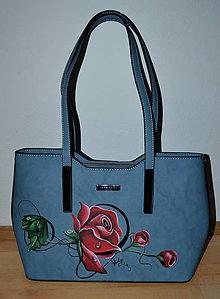 Kabelky - ručne maľovaná kabelka - ruža - 10613673_