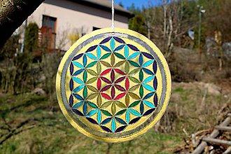 Dekorácie - Mandala maľovaná na skle- Kvet života vo farbách čakier - 10613174_