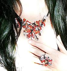 Sady šperkov - lel,náhrdelník  a prsteň masked flowers - 10613883_