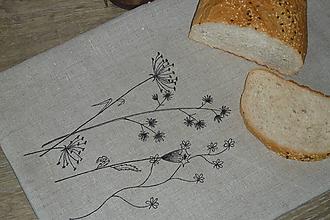 Úžitkový textil - Ľanový chlebník Čierne trávy - 10615274_