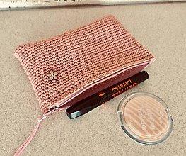 Taštičky - háčkovaná ružová taštička - 10614659_
