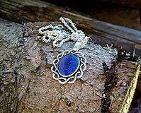 Náhrdelníky - Modrý medailón - 10613987_