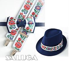 Doplnky - Set - pánsky klobúk, folklórny motýlik a traky - modrý - folk - 10614614_