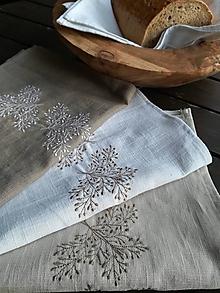 Úžitkový textil - Ľanová kuchynská utierka s výšivkou - 10614273_