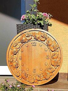 Hodiny - Drevorezba Hodiny divoká ruža - 10614787_