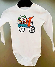 Detské oblečenie - Líška kvetinárka - maľované body - 10614849_
