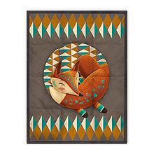 Úžitkový textil - Prikrývka Sleeping Foxy (178x135 cm) - 10615351_
