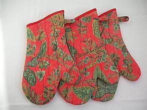 Úžitkový textil - chňapky červená exotika - 10615005_