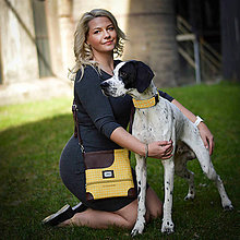 Pre zvieratká - Venčiaca kabelka SueMayty - Yellow Check - 10613777_