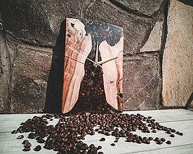 Hodiny - Drevené dekoračné hodiny - Coffee Time - 10615601_