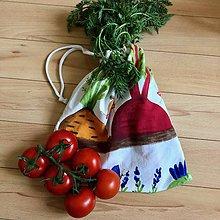 Úžitkový textil - Zero waste Zeleninoví kamoši (Mrkva a cvikla - malé vrecúško) - 10615108_