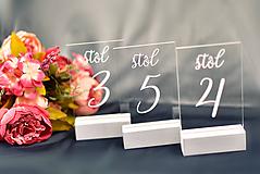 Darčeky pre svadobčanov - Transparentné čísla stolov - 10614139_