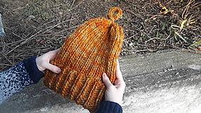 Čiapky - Čiapka z hrubej merino vlny, oranžová tekvička - 10614892_