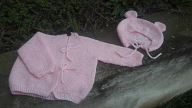 Detské súpravy - Detský svetrík a čiapka, ružový medvedík - 10614543_