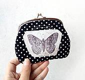 Peňaženky - Peňaženka XL Čierna s bodkami a motýľom - 10614118_