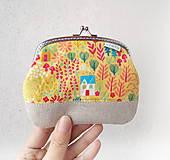 Peňaženka XL Domčeky a stromy na žltej