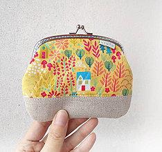 Peňaženky - Peňaženka XL Domčeky a stromy na žltej - 10614119_