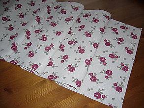 Úžitkový textil - Stredová štoĺa bordové ruže so šedou - 10615100_