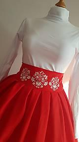 Sukne - Folková červená sukňa - 10613950_