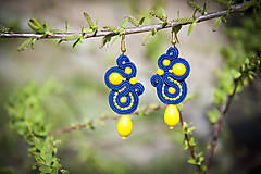 Slnečno-žlto modré náušnice - ručne šité šujtaška - soutache earring