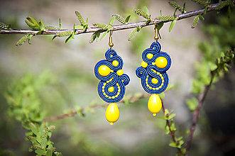 Náušnice - Slnečno-žlto modré náušnice - ručne šité šujtaška - soutache earring - 10617521_