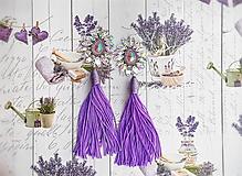 Náušnice - jemné fialové s dlhým strapcom - 10617911_