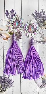 Náušnice - jemné fialové s dlhým strapcom - 10617912_