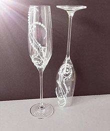 Nádoby - Svadobné poháre perličkové - 10617363_