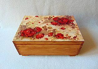 Krabičky - Drevená šperkovnica Červené ruže - 10616187_