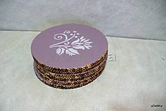 Pomôcky - drevené podložky pod poháre Fialovo - ružové - 10617808_