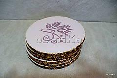 Pomôcky - drevené podložky pod poháre Fialovo - ružové - 10617810_