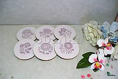 Pomôcky - drevené podložky pod poháre Fialovo - ružové - 10617813_