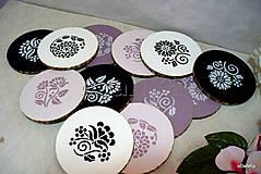 Pomôcky - drevené podložky pod poháre Fialovo - ružové - 10617815_