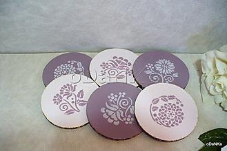 Pomôcky - drevené podložky pod poháre Fialovo - ružové - 10617812_
