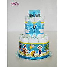 Detské doplnky - Plienková torta MINI pre malého piráta - 10616237_