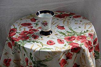 Úžitkový textil - Obrus. Luxusný ľanový divé maky. - 10617908_
