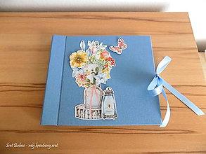 Papiernictvo - Modrý kvetinový album - 10618250_