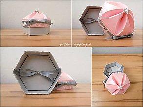 Krabičky - Mini-box na USB (Strieborno-ružová metalická so stuhou) - 10618270_