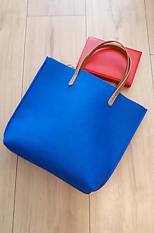 Kabelky - Športová filcová taška - modrá - 10616696_